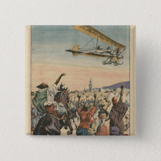 The 'Petit Journal' airplane flying over 15 Cm Square Badge