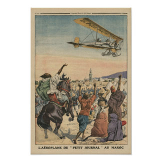 The 'Petit Journal' airplane flying over Poster