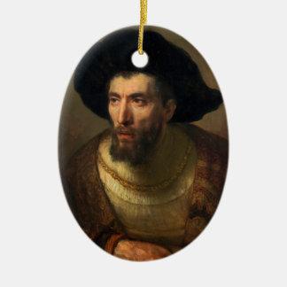 The Philosopher  Rembrandt baroque portrait art Ceramic Oval Decoration