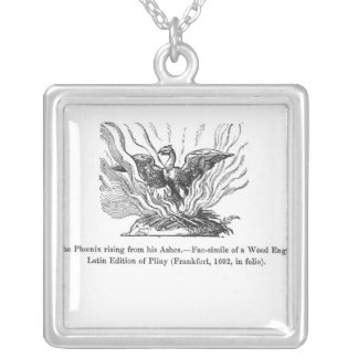 The Phoenix rising from his ashes Square Pendant Necklace
