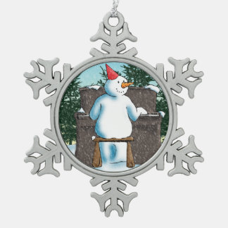 The Pianist Snowflake Pewter Christmas Ornament