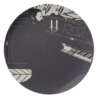 The Piano, 1914 (woodcut) Party Plate