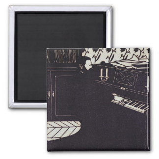The Piano, 1914 (woodcut) Square Magnet