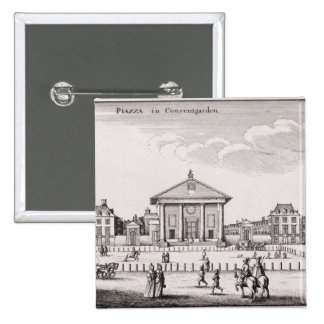 The Piazza in Covent Garden, 1647 (engraving) 15 Cm Square Badge