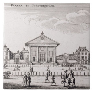 The Piazza in Covent Garden, 1647 (engraving) Large Square Tile