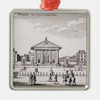 The Piazza in Covent Garden, 1647 (engraving) Silver-Colored Square Decoration