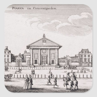 The Piazza in Covent Garden, 1647 (engraving) Square Sticker