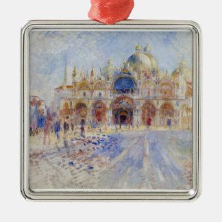 The Piazza San Marco, Venice, 1881 (oil on canvas) Silver-Colored Square Decoration