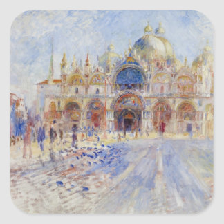 The Piazza San Marco, Venice, 1881 (oil on canvas) Square Sticker