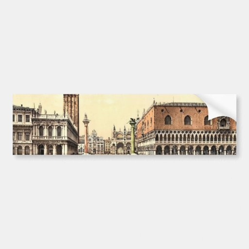 The Piazzetta, Venice, Italy classic Photochrom Bumper Stickers
