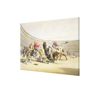 The Picador in Danger, 1865 (colour litho) Canvas Print
