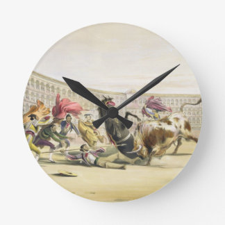 The Picador in Danger, 1865 (colour litho) Clock