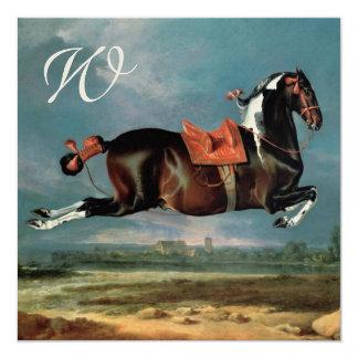 """The Piebald Horse """"Cehero' Rearing Monogram 13 Cm X 13 Cm Square Invitation Card"""