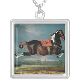 The piebald horse 'Cehero' rearing Silver Plated Necklace
