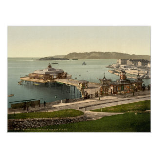 The Pier, with Drake's Island, Plymouth, England Poster