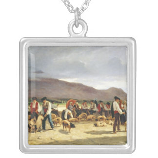 The Pig Market, 1875 Silver Plated Necklace