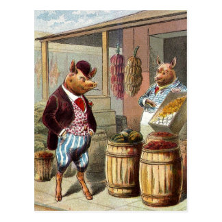The Pig Went to Market Postcard