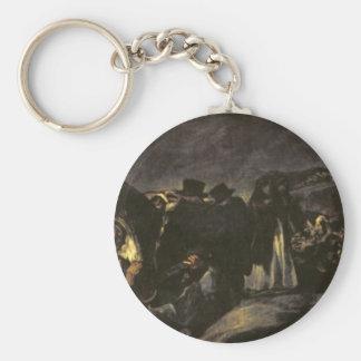 The Pilgrimage of San Isidro by Francisco Goya Basic Round Button Key Ring