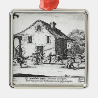 The Pillaging of an Inn Silver-Colored Square Decoration