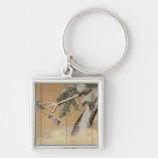 The Pines under Snow Silver-Colored Square Key Ring