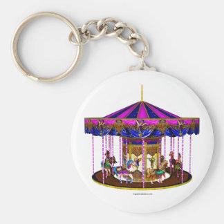 The Pink Carousel Basic Round Button Key Ring