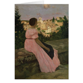 The Pink Dress, or View of Castelnau-le-Lez Card
