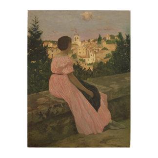 The Pink Dress, or View of Castelnau-le-Lez Wood Print