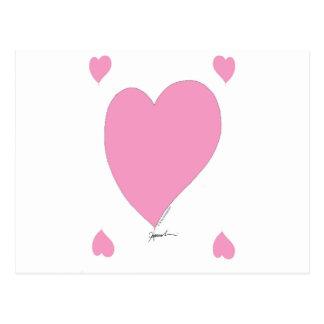the pink hearts postcard