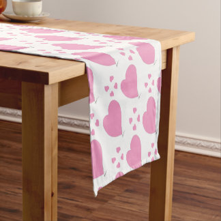 the pink hearts short table runner