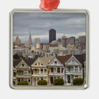 The Pink Ladies Victorian style houses in the Silver-Colored Square Decoration