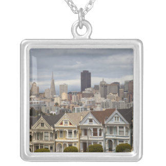 The Pink Ladies Victorian style houses in the Square Pendant Necklace