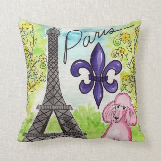 The Pink Poodle in Paris Cushion