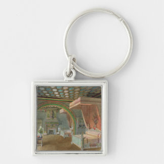 The Pink Room in the Chateau de Roquetaillade Silver-Colored Square Key Ring