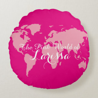 the pink world of (your name) round cushion