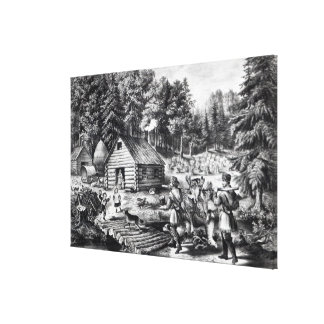 The Pioneer's Home on the Western Frontier Canvas Print