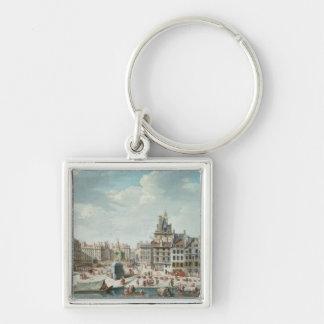 The Place de Greve, Paris Silver-Colored Square Key Ring