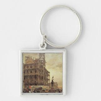 The Place des Pyramides, Paris, 1875 Silver-Colored Square Key Ring