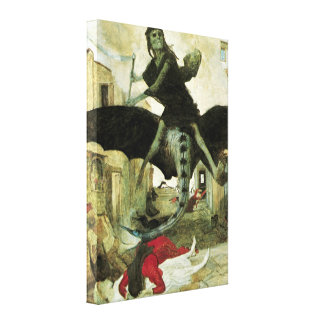The Plague by Arnold Bocklin, Vintage Symbolism Gallery Wrapped Canvas