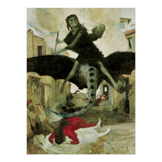 The Plague by Arnold Bocklin, Vintage Symbolism Poster