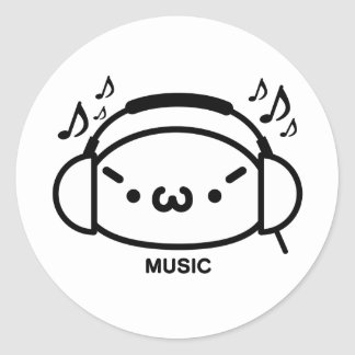 The plain gauze it comes and - is music classic round sticker