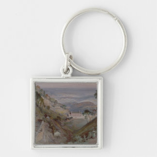 The Plains, Landour Church, Mussoorie, 1884 Silver-Colored Square Key Ring