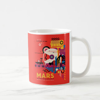 The Planet Mars Space Exploration Illustration Coffee Mug