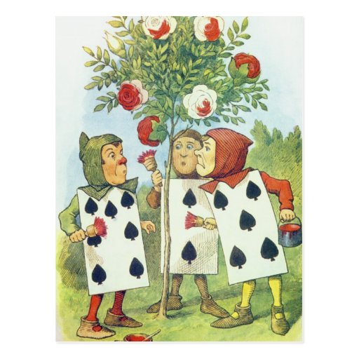 The Playing Cards Painting the Rose Bush Post Card