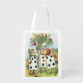 The Playing Cards Painting the Rose Bush Reusable Grocery Bag
