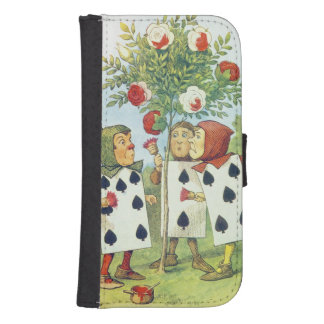 The Playing Cards Painting the Rose Bush Samsung S4 Wallet Case