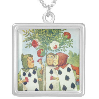 The Playing Cards Painting the Rose Bush Silver Plated Necklace