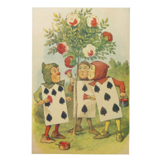 The Playing Cards Painting the Rose Bush Wood Wall Art