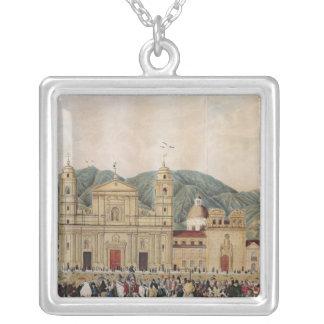 The Plaza de Bolivar, Bogota, 1837 Silver Plated Necklace