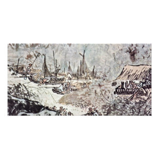 The Pleasures Of The Fishing Village By Wu Wei Picture Card