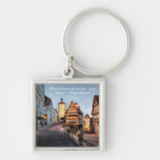 The Plonlein in Rothenburg ob der Tauber Silver-Colored Square Key Ring